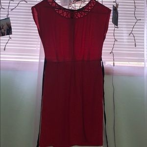 Red Chiffon Dress with Black Bow